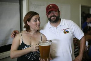 happykatie and Lennie at Saint Arnold's with beer!